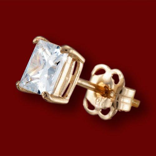 afb96807e E1492 Náušnice zlaté, zirkón, štvorce - najlacnejšie na TrendyŠperky.sk