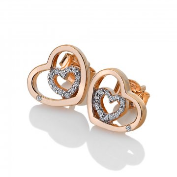 Strieborné náušnice Hot Diamonds Adorable Encased Rose Gold DE549
